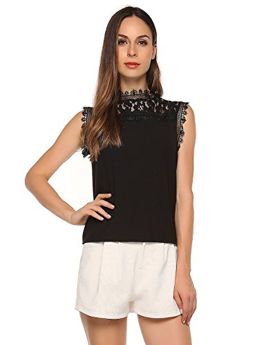 Match Women's Floral Lace Sleeveless Top (XL, 130 Black)