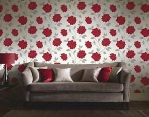 Feature Wall Camilla Wallpaper - Red by New A-Brend