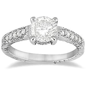 Antique Diamond Vintage Engagement Ring Setting 14k White