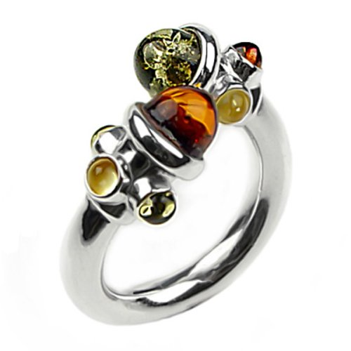 Certified Genuine Multicolor Baltic Amber and Sterling Silver Adjustable Designer Ring, Sizes 5,6,7,8,9,10,11,12