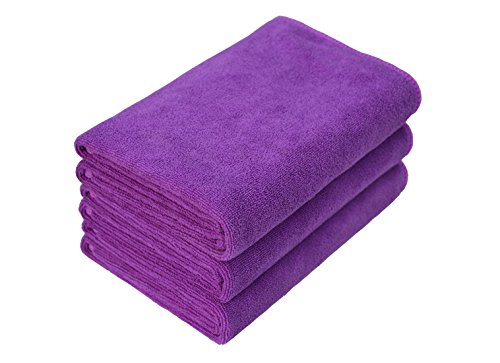 Hope Shine Microfiber Sports Towel Fast Drying Gym Towels 3-Pack 16inch X 32inch (Purple 3-Pack, 16inch X 32inch)