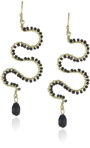 Flying Lizard Designs Black Beaded Snake Earrings