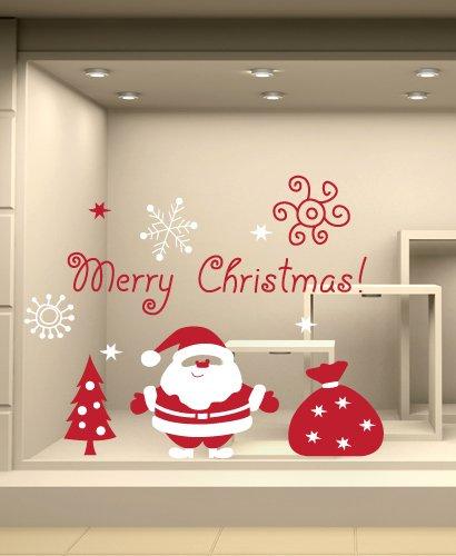 Adesivi Murali Natale.Adesivi Murali Vetrofania Natalizia Babbo Natale Con Sacco