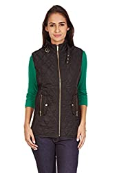 Quilted Sleeveless Black Winter Jacket