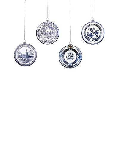 Winward Set of 4 Handcrafted Chinese Plate Ornaments, Blue/White