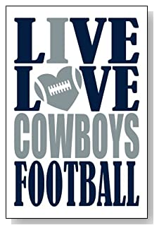 Live Love I Heart Cowboys Football lined journal - any occasion gift idea for Dallas Cowboys fans from WriteDrawDesign.com