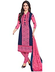 AASRI Women Pink Blue Party Wear Crepe Floral Printed UnstichedSalwar Suit