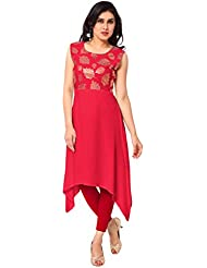AHALYAA Red Sleeveless And Round Neck Faux Crepe Eid Special Kurti