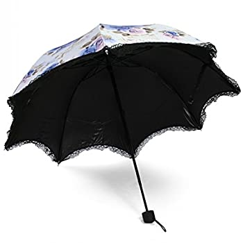 kilofly Anti-UV Folding Travel Parasol Vintage Floral Rain Sun Shade Umbrella