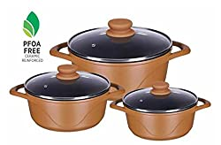 Alda Die Cast Premium Non-Stick Cookware 3 Pieces Gift Set - Set Includes 16CM (1.3 Ltr) Casserole with Glass Lid + 20CM (2.4 Ltr) Casserole with Glass Lid + 24CM (4.2 Ltr) Casserole With Glass Lid - Induction friendly - Blossom Brown