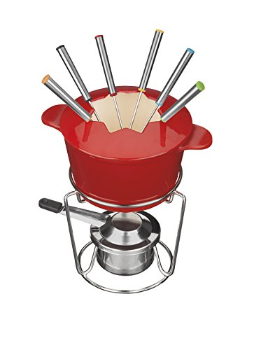 Cuisinart FP-115RS 13-Piece Cast Iron Fondue Set, Red