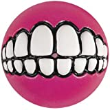 Rogz Grinz Dog Toy Ball to Hide Treats, Small, Pink