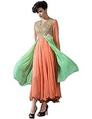 Viva N Diva Women's Orange And Green Color Women's Georgette Kurti.