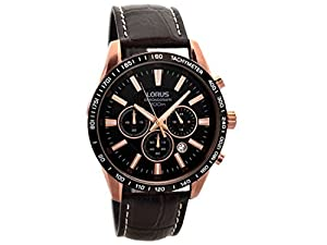 Lorus Mens Gents RT350CX9 Rose Gold Plated Chronograph Brown Leather Strap Wrist Watch
