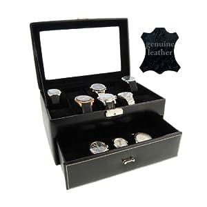 Mueble Estuche Relojero en Piel color negro para 20 relojes de gran esfera con visor de cristal