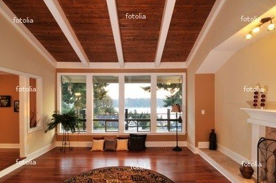 "Wallmonkeys Peel and Stick Wall Graphic - Family Room with Lake View - 48""W x 32""H"