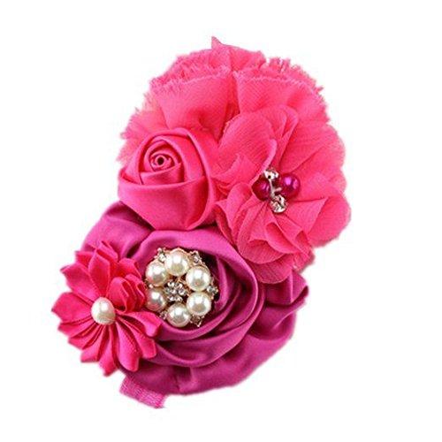 BELLAZAARA Fushia Pink Christening Headband Multiflower with Rhinestone Pearls Girls' Hair Band