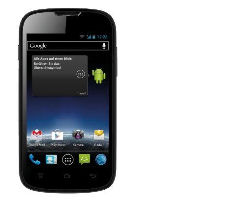 Medion Life E4001 Life Mobiltelefon (10,2 cm (4 Zoll) LCD-Display, 1 GHz Dual-Core Prozessor, 2 Megapixel Kamera, 4GB interner Speicher und zusätzliche 4 GB microSDHC Speicherkarte, Android 4.0) schwarz