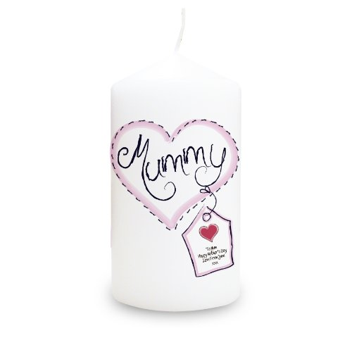 Heart Stitch Mummy Candle. This is a great product that can be personalised to your requirements ( please see main discription for full details ) Ideal gifts and presents for weddings, Christenings, Birthdays, Christmas etc...