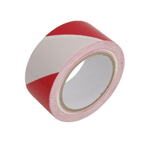Hazard Warning Tape 50x50mm (2x2in.) Self Adhesive - Red And White