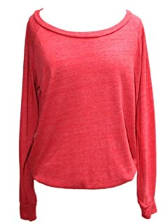 YogaColors Black Heart Tri-Blend Light Weight Raglan Pullover BR394 (Small, Eco Red)