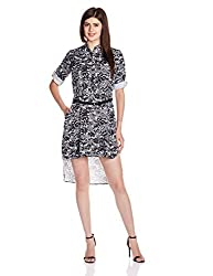 Chemistry Women's Rayon A-Line Dress (C16-610WDSDR_Black and White_Large)