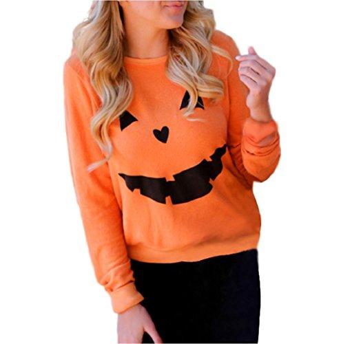 [Halloween Sweatshirt Mallcat Women Pumpkin Print Pullover Blouse (XL, Orange)] (Vintage Paisley Print Costumes)