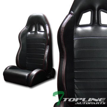 Topline Autopart 2X Sp Sport Black Pvc Leather Red Stitch Reclinable Racing Bucket Seats Slider T01 (Red Bucket Seats For Racing compare prices)