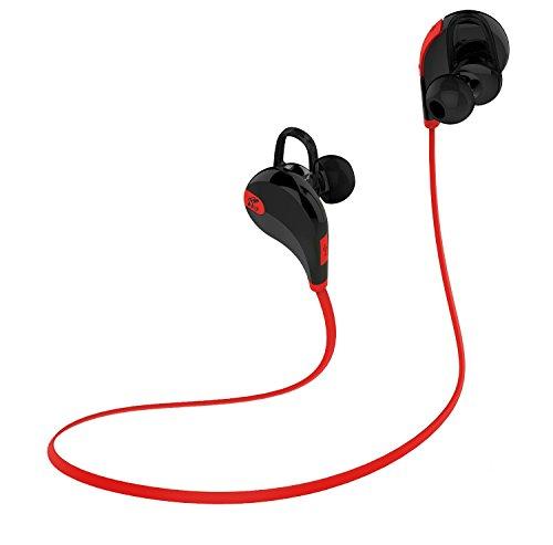 SoundPEATS QY7 Bluetooth イヤホン 高音質[メーカー直販/1年保証付] マイク内蔵 ハンズフリー通話 CVC6.0ノイズキャンセリング機能 防滴 スポーツタイプ ブルートゥース イヤホン Bluetooth ヘッドホン ブラック/レッド