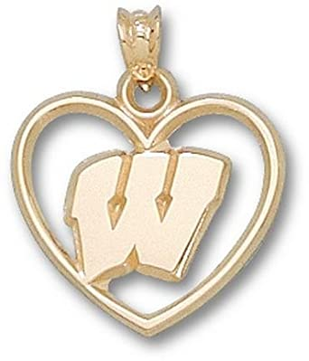 Wisconsin Badgers W Heart Pendant - 14KT Gold Jewelry by Logo Art