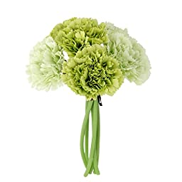 Wedding Silk Carnation Flower Bunch Green