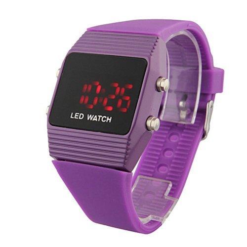 Baolihao-Silicone Band Sports Style Unisex Red Light Led Wrist Watch Purple Wth0323