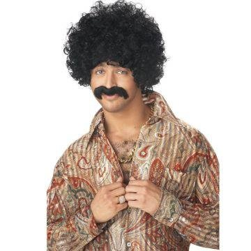 70s Pornstar Black Wig & Moustache Set