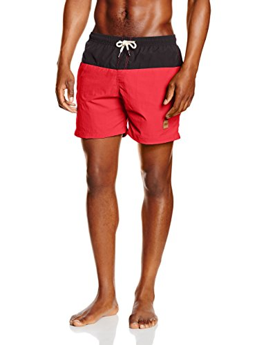 Urban Classics Block Swim Shorts, Costume da Bagno Uomo, Multicolore (Blk/Red 44), Medium