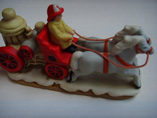 "Vintage Colonial Village Porcelain 4.5"" 1987 ; Fire Fighters Firemen on Truck"