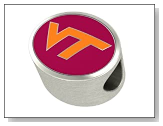 Virginia Tech Hokies Bead Premium Series Fits Most European Style Bracelets. In Stock for Fast Shipping.