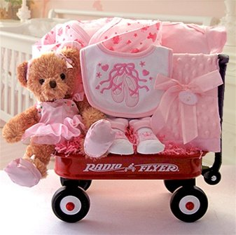 Beary Ballerina Baby Gift Basket with Wagon
