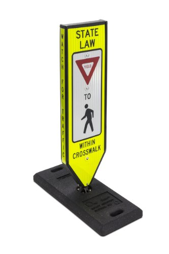 "Omni-Ped, Yield, 4-Sided In-Road Crosswalk Sign, Includes Plastic 8""X8"" Fixed Base & Qr Pin"
