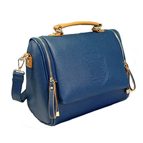 Fashion Road Modern Womens Cross Body Zip Satchel Handbags Leisure Shoulder Bags Blue (Amazon Purses compare prices)