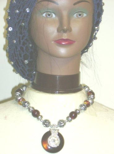 Antique Silver and Amber Beads Ethnic Necklace for Women and Teens with Matching Earrings Offered with Hand Crocheted Navy Gimp Large Snood with Fire Polished Silver Beads