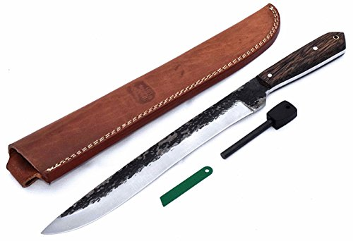 "CFK Cutlery Company USA Custom Handmade Hammered D2 - IPAK 16.5"" TRAIL KING I MACHETE - Exotic Black Palm Wood"
