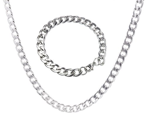Cloris 9mm Shiny Stainless Steel Mens Link Chain Necklace Bracelet Set Heavy Silver Color (9mm Stainless Steel Necklace compare prices)