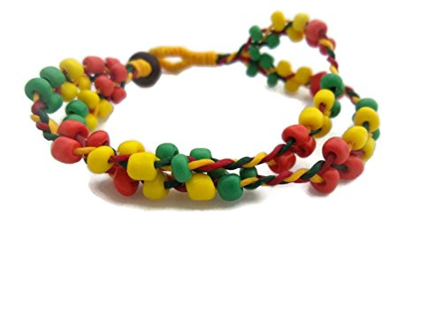 [by Angel 15.5- 17.5 cms or 6 - 7 inches Bracelet in Three Strings in Three Colors Beads Red, Green,] (Vegas Superstar Costumes)