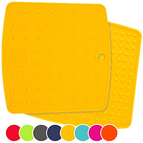 Holiday Sale! Premium 5 in 1 Silicone Kitchen Tool: Trivet Mat, Pot Holders, Spoon Rest, Jar Opener, Coaster - Heat Resistant Hot Pads - Thick & Flexible - Great Gifts for Her (Set of 2, Yellow) (Oven Dish Small compare prices)