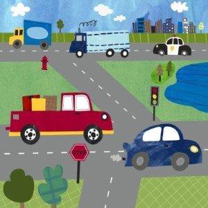 Oopsy Daisy Too Transportation - Busy Roads - 21x21