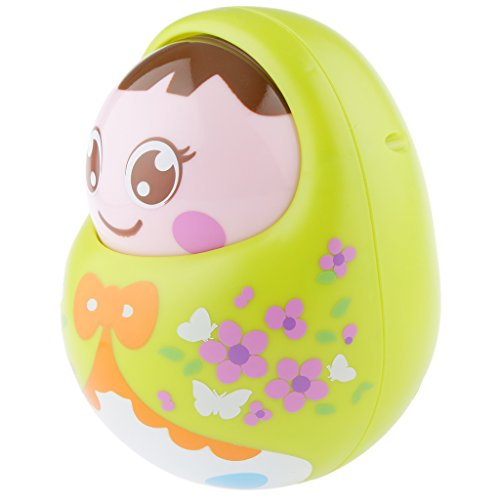 Magideal Kids Baby Tumbler Dolls With Bell Nodding Doll Early Educational Toys Green