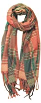 Chicastic Soft Plaid Color Block Oblong Neck Scarf Pashmina Shawl Wrap - Pink & Green