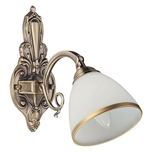 Applique style classique, armature en métal couleur laiton , plafonnier en verre, 1 ampoule non-incl 2 x 60W ?27 230V