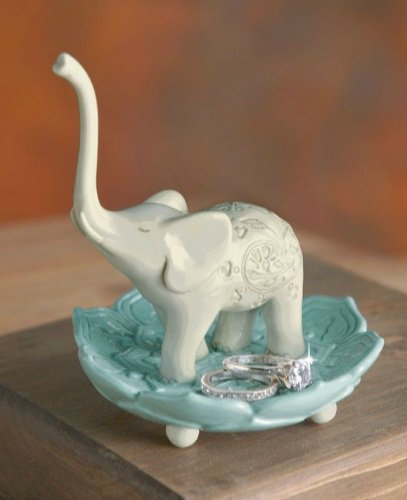 Being Mindful Elephant Trunk Up Good Luck Ring Jewelry Holder (Baby Elephant Ring Holder compare prices)