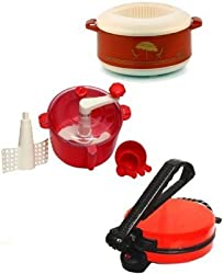 NON-STICK RED ROTI MAKER WITH DOUGH MAKER AND CASSEROLE